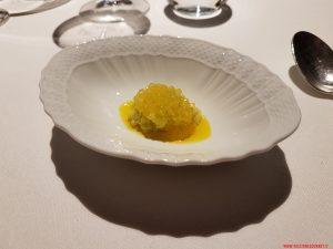 Uova di salmerino, tapioca e olio al mandarino, Riccardo Camanini, Lido84
