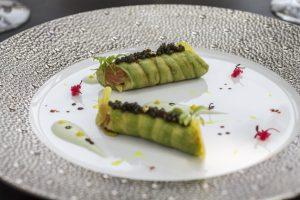 Cannelloni avocado e salmone, Macau, Robuchon au Dome, Julien Tongiurian
