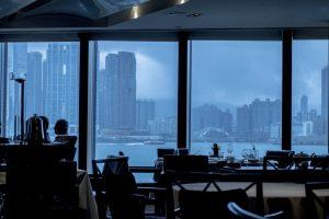 Insegna, Lung King Heen, Chan Yan Tak, Hong Kong, Cina