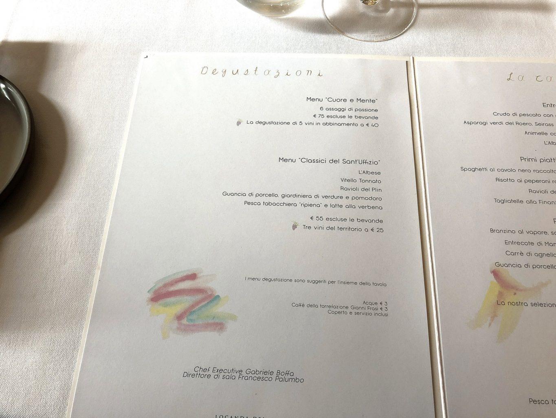 Locanda Sant'Uffizio, menu