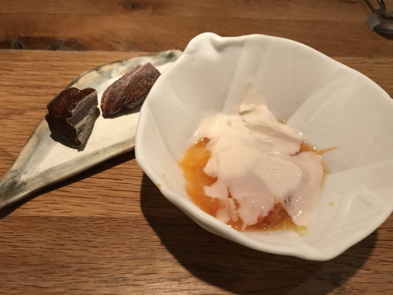 Cachi e gelato all'umeboshi, Pakta, Jorge Muñoz, Albert Adrià, Barcellona, Spagna, Michelin