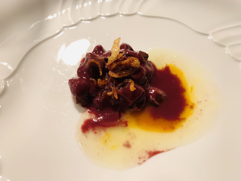 Fegato con salsa bordolese, mela, cipolla e noci, Gipponi, Dina
